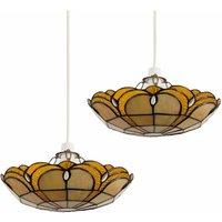 2 x Tiffany Amber Jewelled Glass Uplighter Ceiling Pendant Light Shades + 10W LED Gls Bulbs Warm White - MINISUN