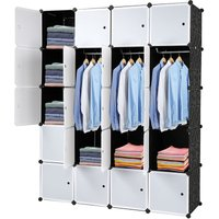20 Cube Closet Storage Organizer Unite with Door, Portable Wardrobe Combination Armoire, Modular Cabinet Shelf for Bedroom Living Room (Black and White)