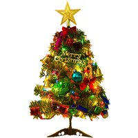 20 Inch Christmas Tree with Hanging Decorations LEDs Fairy Lights Decorative Artificial Xmas Tree Hanging Lights Ornaments for Indoor Outdoor Garden