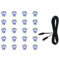 20 x 15mm LED Round IP67 Garden Decking / Lights Kit - 3M Extension Cable - Blue - MINISUN