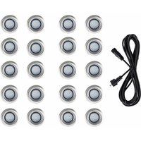 20 x 40mm LED Round IP67 Garden Decking / Lights Kit - 3M Extension Cable - White - MINISUN