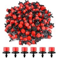 200pcs Drip Irrigation Dripper, 1/4'' System Drip Irrigation Drip; Micro Flow Drip Head Drip Nozzles for Vegetable Gardens or Flower Beds (Red)