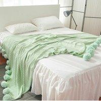 200x150cm Large Knit Throw Crochet Blanket Blanket Yarn Cotton Baby Mat Bed Sofa WASHING - Vert clair