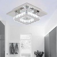 220V LED Crystal Ceiling Light Pendant Chandelier Lamp, 12W Square 20CM - LIVINGANDHOME