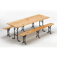 Set Of 10 Wooden Outdoor Table And 2 Three Legged Benches 220x80 - WOOD DECOR