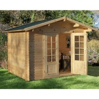 Worcester Log Cabins(f) - 2.2m x 2.2m Log Cabin With Double Doors - 28mm Wall Thickness **Includes Free Shingles**