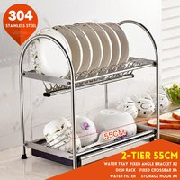 2/3 Tier Dish Drainer Dish Rack Kit Drying Sink Drainage (2 Tires 55CM)