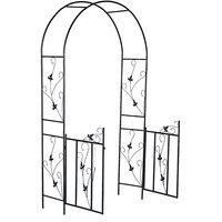 Augienb - 230*110*55cm Black Metal Garden Arch Wedding Archway Plant Trellis Rose Arches with Gate