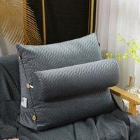 23.62 Triangular Wedge Lumbar Pillow Support Cushion Backrest Bolster Soft Headboard (Grey)
