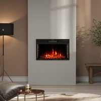 24 inch Electric LED Fireplace Wall Inset Mounted Heater 7 Flame Colours, Height 39CM
