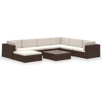 8 Piece Garden Lounge Set with Cushions Poly Rattan Brown - VIDAXL
