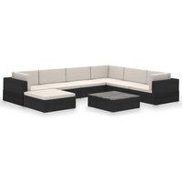 8 Piece Garden Lounge Set with Cushions Poly Rattan Black - VIDAXL