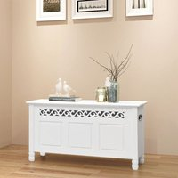 Storage Bench Baroque Style MDF White - White - Vidaxl