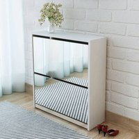 Shoe Cabinet 2-Layer Mirror White 63x17x67 cm - VIDAXL