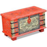 Storage Chest Red Mango Wood 80x40x45 cm - Red - Vidaxl