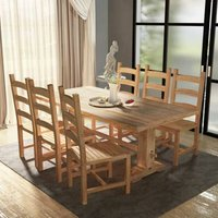 Seven Piece Massive Dining Table and Chair Set Teak - Brown - Vidaxl