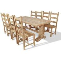 Nine Piece Massive Dining Table and Chair Set Teak - Brown - Vidaxl