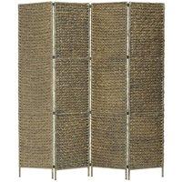 Room Divider Water Hyacinth Brown 4-Panel 154x160 cm - Brown - Vidaxl