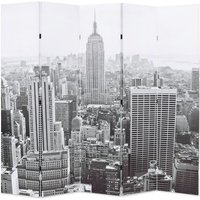 Folding Room Divider 200x170 cm New York by Day Black and White - Multicolour - Vidaxl