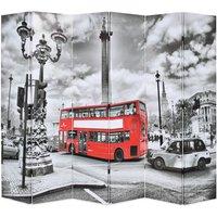 Folding Room Divider 228x170 cm London Bus Black and White - VIDAXL