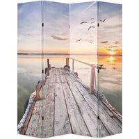 vidaXL Folding Room Divider 160x170 cm Lake - Multicolour