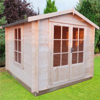 Oakham 19mm Log Cabins(s) - 2.4m x 2.4m Premier Apex Log Cabin With Double Doors + Free Floor and Felt (19mm)