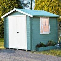 2.4m x 2.4m Premier Apex Log Cabin With Double Doors + Side Window + Free Floor and Felt (19mm)