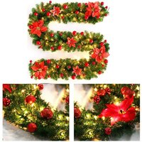 270cm Artificial Christmas Tree String Lights Artificial Rattan Garland with LED Lamp Decoration for Christmas Tree Door Staircase Fireplace (Red)