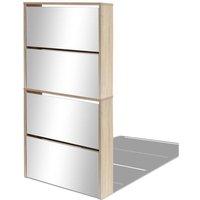 Shoe Cabinet 4-Layer Mirror Oak 63x17x134 cm - Brown - Vidaxl