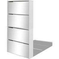 Shoe Cabinet 4-Layer Mirror White 63x17x134 cm - White - Vidaxl