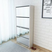 Shoe Cabinet 4-Layer Mirror White 63x17x134 cm - VIDAXL
