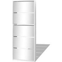 Shoe Cabinet 5-Layer Mirror White 63x17x169.5 cm - VIDAXL