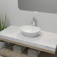 Bathroom Basin with Mixer Tap Ceramic White Oval - White - Vidaxl