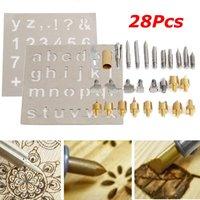 Kingso - 28 Pcs / Set Pyrography Welding Tips Burning Wood Soldering + 2 Pcs Stencils Kit Tool Hasaki