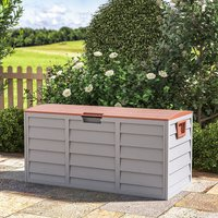 290L Wood Rattan Effect Garden Utility Storage Box Chest Cushion Plastic Shed