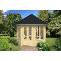 Clifton Log Cabins - 2.9m x 2.9m Budget Apex Log Cabin Octagonal (224) - Double Glazing (40mm Wall Thickness)