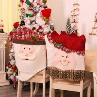 Briday - 2Pc Santa Claus Kitchen Table Chair Cover Christmas Chair Cover Holiday Home Party Decoration fundas para sillas de comedor Xmas