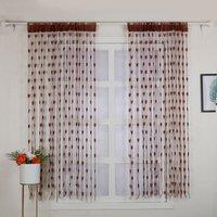 2Pcs 100*200cm Novelty Heart Decor Window Room Line Curtain Romantic String Tassel Door Curtain Divider Room Wall Decoration,model:Coffee
