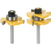 2PCS 3/4 Stock 1/4 Shank Tongue and Groove Router Bit Set 3 Teeth T-shape Wood Milling Cutter
