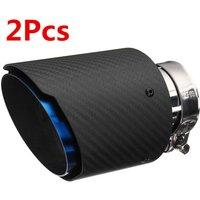 2pcs 63mm - 101mm Glossy/Matt Carbon Fiber Exhaust Tips Universal Car Exhaust Pipe Blue