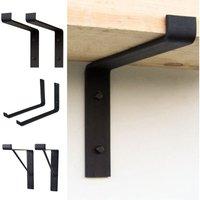 Livingandhome - 2PCS Black Shelf Brackets Industrial Shelves Bracket for Book Items Floating DIY