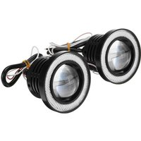 2pcs Car Fog Lights LED Bulbs Angel Eyes Halo Lamp Projector blue 2.5 inch