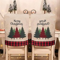 Bearsu - 2pcs Christmas Chair Covers Linen Chair Back Covers Xmas Dining Chair Slipcovers for Christmas Kitchen Dining Room Chairs 22 x 17.9,