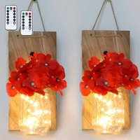 2PCS Glass Mason Jars LED Fairy Lights Wall Hanging Lighting Battery Operated Decorative Indoor String Lights, Red