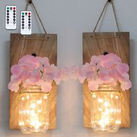 2PCS Glass Mason Jars LED Fairy Lights Wall Hanging Lighting Battery Operated Decorative Indoor String Lights, Pink