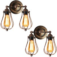 2pcs Industrial Wall Sconce Rustic Antique Wall Light Metal Cage Wall Lamp Angle Adjustable Ceiling Light E27 Socket Edison Vintage Retro Wall Lamp