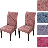 2pcs Printed Chair Cover Soft Milk Silk Home Seat Protector Stretch Anti Dust Brick Red,model: 1 Brick Red