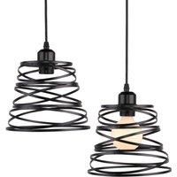 2pcs Spring Shape 20cm Chandelier Industrial Pendant Light Retro Metal Hanging Lamp for Living Room Kitchen Home Decoration Black