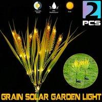2Pcs Waterproof LED Multi-Color Changing Grain Solar Flower Lights Outdoor Garden Solar Lights Landscape Lighting For Patio Yard Path Decoration