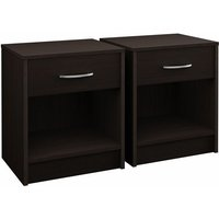 Deuba Bedside Table Nightstand Drawer End Table Bedroom Storage White Grey Oak Cherry Brown Set of 2 Tables - CASARIA